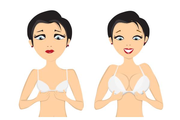 srečna ženska po povečanju prsi